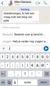 Communiteers WhatsApp Business snel antwoord