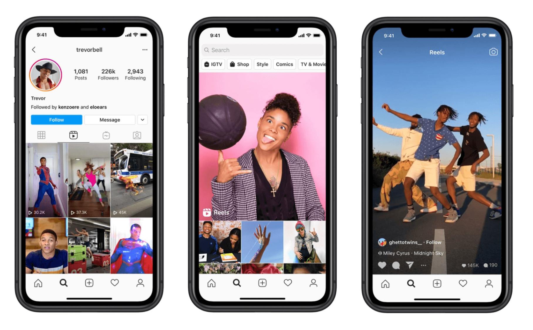 Instagram Reels voorbeelden -Instagram Reels op het profiel, in Explore en als Reel in de tijdlijn